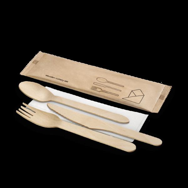 Holz-Besteckset, 4-teilig, Gabel, Messer, Löffel, Serviette, naturesse