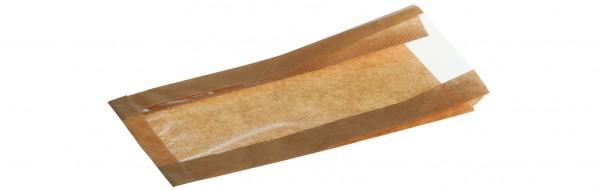 Brotbeutel mit perforiertem Sichtfenster braun 35g 150+70x270mm