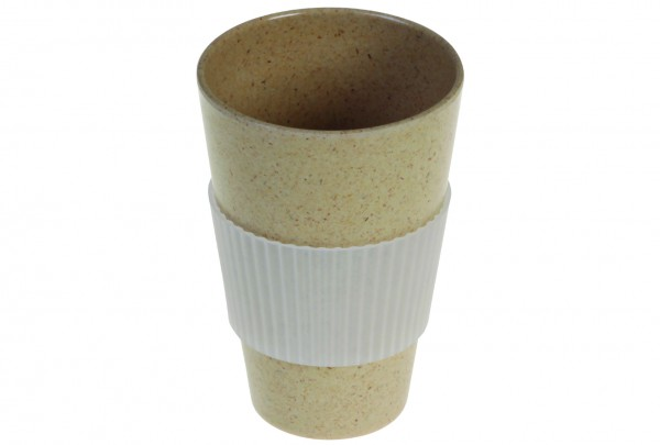 Mehrwegbecher Bamboo braun 450ml Ø8,9cm H13cm inkl. Silikonmanschette