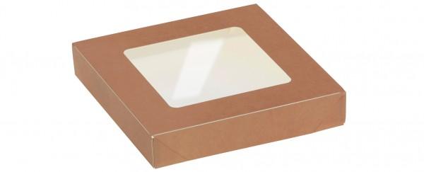Deckel mit Sichtfenster zu Kartonbox 600ml - 135x135mm