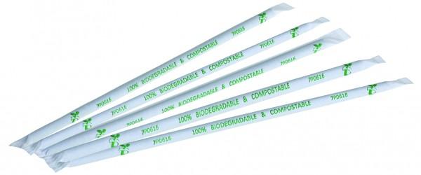 naturesse PLA Trinkhalm grün einzeln gehülst 0,6x23cm