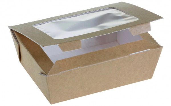 Food Box Kraft braun groß 120x160x60mm 1125ml mit Sichtfenster