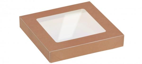 Deckel mit Sichtfenster zu Kartonbox 750ml - 155x155mm