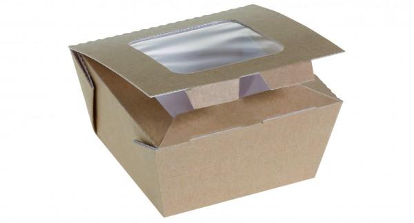 Food Box Kraft braun klein 100x100x60mm 625ml mit Sichtfenster