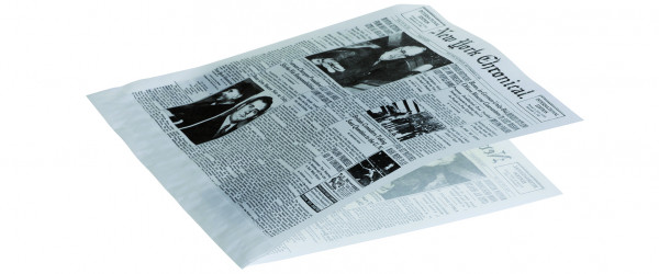 """Hamburgertüte weiß 17x18cm 40gr 2-seitig offen fettdicht Druck Zeitungspapier """"New York Chronical"""""""