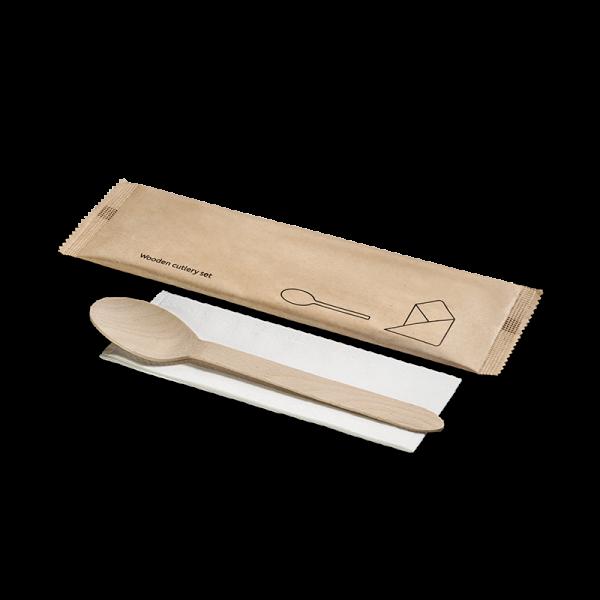 Holz-Besteckset, 2-teilig, Löffel, Serviette, naturesse