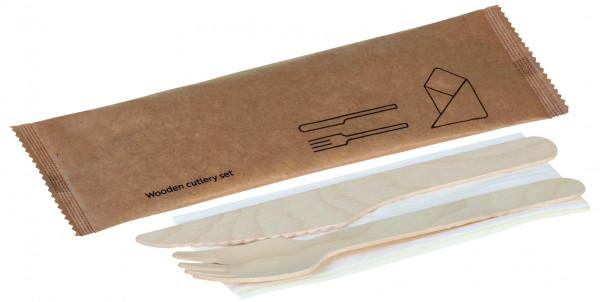 Holz-Besteckset, 3-teilig, Gabel, Messer, Serviette, naturesse