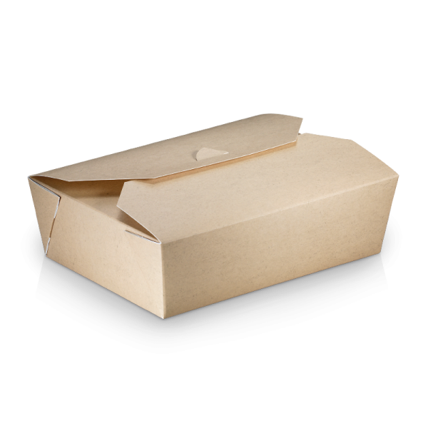 naturesse Take away Box mit PLA-Beschichtung braun/weiß 200x140x65mm 2000ml