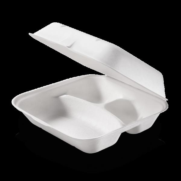 Zuckerrohr Food Box mit Klappdeckel 3-geteilt 23,5 cm x 19,5 cm, 7,5 cm tief