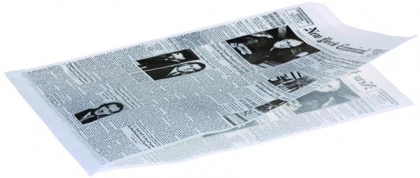 """Hamburgertüte weiß 22x34cm 40gr 2-seitig offen fettdicht Druck Zeitungspapier """"New York Chronical"""""""