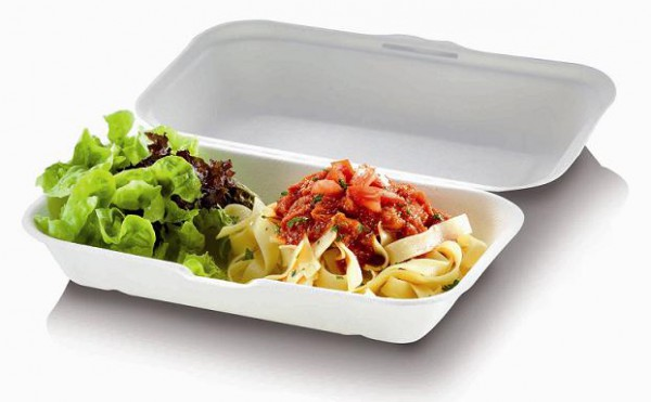 Zuckerrohr Food Box L mit Klappdeckel 23,5x14cm, 6,7cm tief