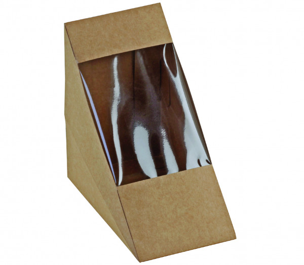 Sandwich-Verpackung Kraft/PLA m. Fenster 125x72mm, naturesse