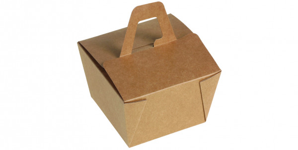 naturesse Take away Box mit Henkel Kraft/PLA 90x90x65mm 526ml