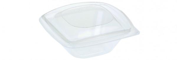PLA Salatschale mit Deckel, quadratisch 240 ml, klar