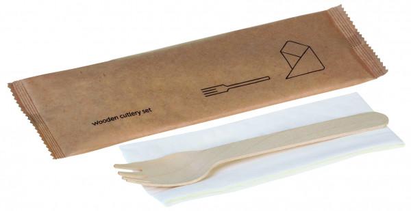 Holz-Besteckset, 2-teilig, Gabel, Serviette, naturesse