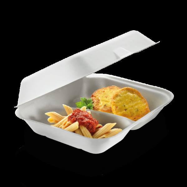 Zuckerrohr Food Box mit Klappdeckel 2-geteilt 23,5 cm x 19,5 cm, 7,5 cm tief