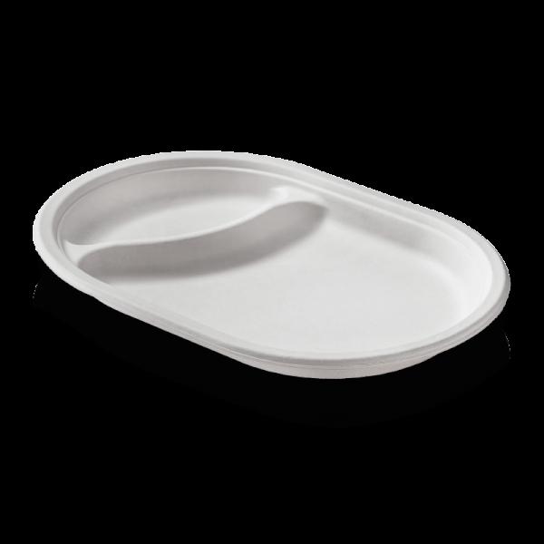 Zuckerrohr Teller oval 2-geteilt, 31 cm / 21 cm