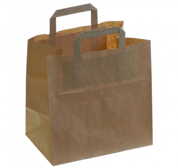 Tragetasche aus braunem Papier, Stärke 90g/m², 180x220+2x35mm