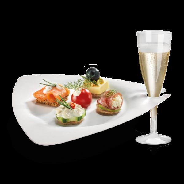 Zuckerrohr Teller Trigon mit Glashalter 26,8 x 25,7 cm
