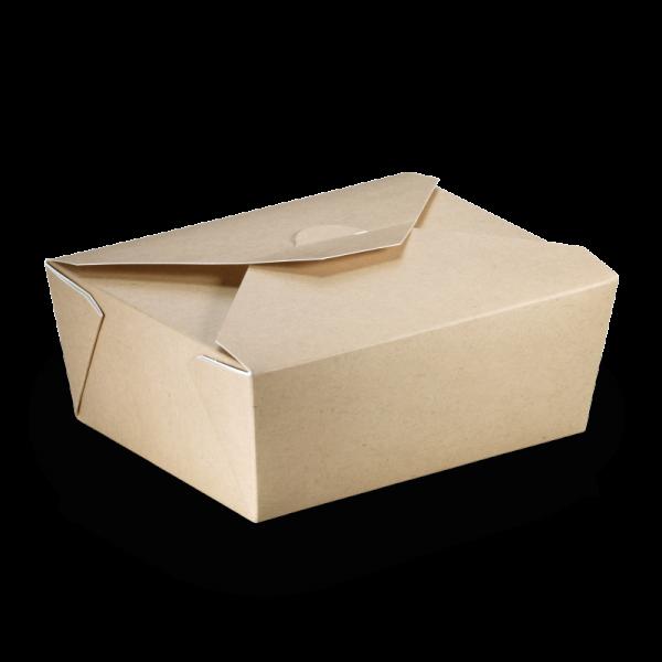 naturesse Take away Box mit PLA-Beschichtung braun/weiß 152x120x65mm 1500ml